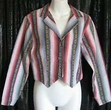 BANJO TOP/JACKET SZ LL STRIPED THREE BUTTON FRONT INDIAN HEADS 100%COTTON