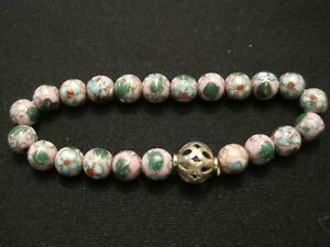 Cloisonne Enamel Beaded Stretch Bracelet in Pink with Floral Design