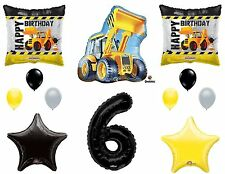 12pc CONSTRUCTION set BALLOONS new 6th SIXTH birthday TRACTOR party FAVORS truck