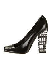 $1190 YSL Yves Saint Laurent Black Patent Leather Peep Toe Cage Heels Pumps 37