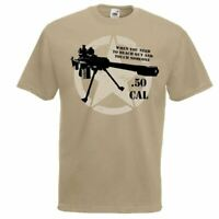 Mens Khaki 50. Cal Sniper Quote US Army Style T-Shirt Desert Marksman Top