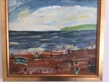 SIMEON STAFFORD ?CORNISH ? NAIVE BEACH SCENE FOLK ART PAINTING