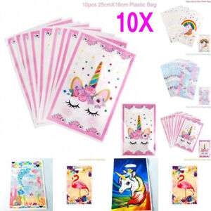 10X Unicorn Plastic Gift Bags Candy Bag Disposable Bags Birthday Party Supply