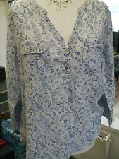 FAT FACE Women's Peacock Print 100% Soft Cotton Long Sleeve Blouse UK 14