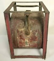Primitive Gasoline or Petroleum Galvanized Can With Tilting Dispenser Frame Rare