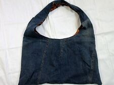 Recycled Denim Jeans Shoulder Bag Tote Reversible Blue Orange BOHO Handmade NEW