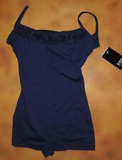 NWT Dance Bloch Navy Blue Cami Shorty Unitard Frill Front Ladies Sm Adult U5980