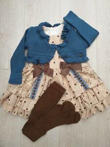 New Winter Spanish Girls Dress Set Camel Chocolate & cardigan  & tights Age 8 yr