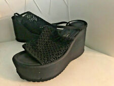 "Vintage Girlfriends 2"" Platform shoes 7.5 Black crochet 80's D