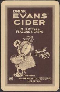 Playing Cards 1 Single Card Old Vintage * EVANS CIDER * Advertising GIRL + APPLE
