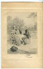 ANTIQUE HANDSOME VICTORIAN MAN WOMAN PICNIC WINE TASTING BRUNCH DINING ART PRINT