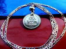 "1989 BAHAMAS Marlin & Flamingo Coin Pendant on a 30"" 925 Sterling Silver Chain"