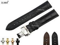 100% Genuine Leather Mens Black Brown Watch Band Wrist Strap 18mm 20mm 22mm 24mm