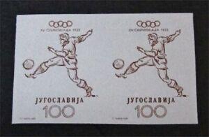nystamps Yugoslavia Stamp # 364 Mint OG NH $1324 Imperf Pair F19y2812