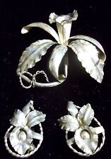 Brooch/Screw Earrings Set 925 Silver Unique Rare 1940s Peru Orchid Detailed