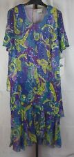 NWT Beaded Drama Blue Green and Purple Hand Beaded Dress Plus Size 1X