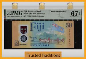 TT PK 121a 2020 FIJI RESERVE BANK 50 DOLLARS COMMEMORATIVE PMG 67 EPQ SUPERB GEM