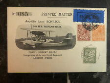 1925 England First Flight Postcard Cover to paris France Seaplane 120 Flown