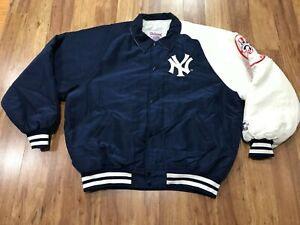 LARGE - Vtg 90s NY Yankees Starter Diamond Collection Sewn Snap Quilt Jacket USA