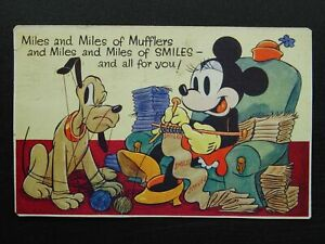 Walt Disney PLUTO & MINI MOUSE KNITTING c1930's Postcard by Valentine 337