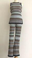 TOPSHOP Multicolour Chevron Stripe Crochet Sleeveless Top & Flared Trouser Set 8