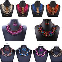 Woman Jewelry Bib Flower Crystal Pendant Statement Charm Chunky Choker Necklace