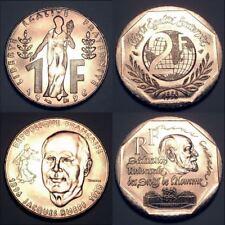 FRANCE COMMEMORATIVE COIN SET 1 + 2 Francs 1996-1998 KM 1160 1213 UNC LOT of 2