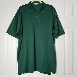 Peter Millar Short Sleeve Solid Lisle Golf Polo Shirt Green XXL Cotton
