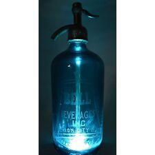 Vintage BELL BEVERAGES SELTZER BOTTLE Sapphire Blue ORIGINAL CAP & GLASS SYPHON!