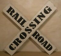 Black & White Wooden Rustic Railroad Crossing Metal Sign Collectible Sign - New
