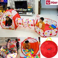 Kid Toddlers Tunnel Pop Up Play Tent Ball Pool Playhouse Indoor Outdoor 3in1 Set