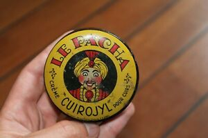 Rare Ancienne Belle Boite Tole Lithographiée Cirage Le Pacha Tin Box Crème