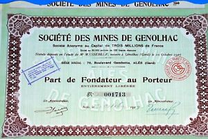 Societe Of Mines of Inspiration - Ales 1927 - Action Of Cent Francs Aca