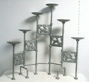 vtg Wrought Iron Pillar Candle Holder Candelabra Stand Table Mantle silver metal
