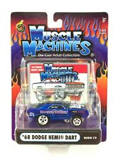 Muscle Machines 1968 68 Dodge Hemi Dart Drag Car Blue Die Cast 1/64 Scale
