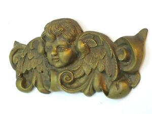 Antique Architectural Salvage Italian Putti Cherub Angel Heavy Brass Pediment