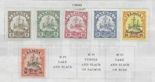 6 Samoa Stamps from 19th Century Brown Scott Album 1900