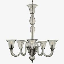 Lámpara de Araña 6 Luces Vidrio Murano Gris Adecuado A Cada Ambiente Certificado