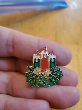 Christmas 3 Candle Pin Brooch Pendant
