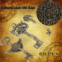 69Pcs Antique Vintage Old Look Bronze Skeleton Keys Pendant Fancy Christmas Gift