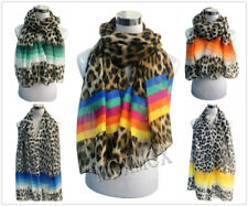 Women Lady  Inspired Leopard Print Animal Pattern with Rainbow Colourful Stripe