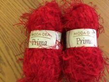 """2 Skeins Moda Dea """"RED"""" Prima Eyelash Yarn 1.72 oz/72 yd NEW"""