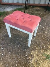 Modern Vintage Style White Dressing Traditional Table Stool Pink Fabric 2/6/L/LB