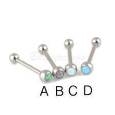 """14G 5/8"""" G23 Titanium Synthetic Opal Stone Tongue Ring Barbell with plain ball"""