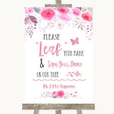 Wedding Sign Poster Print Pink Watercolour Floral Fingerprint Tree Instructions