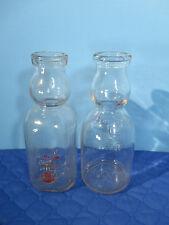 Milk Bottles Vintage Cream Top Quart St Louis Dairy Meadow Gold Set of 2