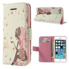 Schutz Tasche Hülle Flip Cover f Iphone 4 4S STRASS FEE LADY ROSA WEIß SITZ 22C2