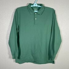 New listing LL Bean Polo Shirt Mens Large Green Long Sleeve Traditional Fit Cotton Rugby
