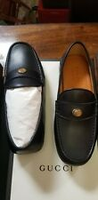 Gucci Driver GG Bee Loafers Moccasin Black Leather Men Shoes Size US 9.