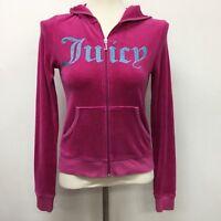 Juicy Couture Hooded Hoodie Sweater Medium Juniors Pink Velour